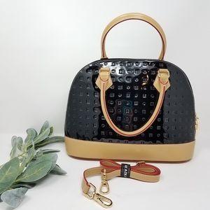 ARCADIA Patent Leather Satchel Dome Purse Bag
